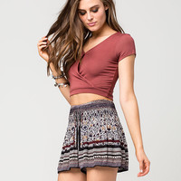PATRONS OF PEACE Smocked Floral Womens Shorts | Shorts