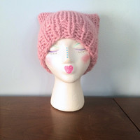 """Chunky Cat Beanie """"Poppy"""" - Chunky Knit Hat - Cat Ear Hat - Square Beanie - Pink Hats - Warm Winter Hat - Funny Hats - Adult Animal Hat"""