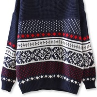 Southwestern Drop-Sleeves Sweater - OASAP.com