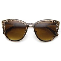 Designer Womens Oversize Metal Plastic Cat Eye Sunglasses 9207