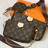 Louis Vuitton LV  Women Leather Crossbody Satchel Shoulder Bag Three Piece Set
