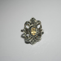 Size 10 Citron ring Vintage Sterling Silver Ring Free US Shipping