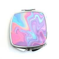 Neon Colored Warped Compact Mirror
