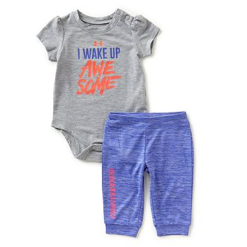 Under Armour Baby Girls Newborn-12 Months I Wake Up Awesome Short-Sleeve Bodysuit & Jogger Pant Set | Dillards