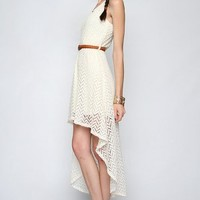 Beyond Beautiful, Cream Textured Lace Chevron Dress With High-Low Hem -