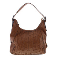 French Connection Womens Andy Quilted Suede Trim Hobo Handbag