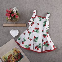 2017 Hot Sale Summer Newborn Baby Girls Clothes Sleeveless Strawberry Princess Floral Cotton Tutu Dress Baby Outfits