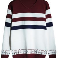 V-Neck Contrast Stripe Panel Knitted Sweater