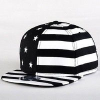 USA American Flag Adjustable Black Snapback