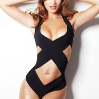 Halter Crisscross One Piece Bathing Suit
