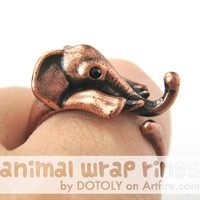 Elephant Animal Wrap Around Ring in Copper - Sizes 4 to 9 Available