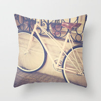 Pierina's Pink Bicycle  - Retro and Vintage Photography Throw Pillow by Andrea Caroline    Society6