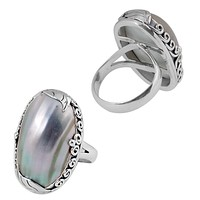 """SR-8037-CKL-6"""" Sterling Silver Ring With Shell"""
