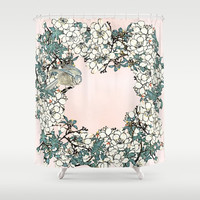 Little bird- merry in the blossoming Shower Curtain by anipani
