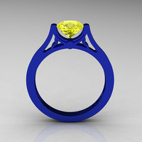 Modern 14K Blue Gold Luxurious and Simple Engagement Ring or Wedding Ring with a 1.0 Ct Yellow Sapphire Center Stone R668-14KBLGYS