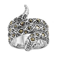 Tori Hill Marcasite Sterling Silver Snake Ring (Grey)