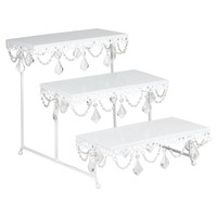 3-Tier Serving Platter and Cupcake Stand with Crystals (White)