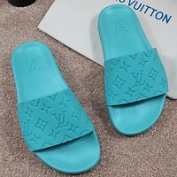 LV Louis Vuitton embossed letters stitching color men's and women's casual sandals beach slippers Shoes