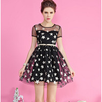 Black Mesh Star Print Short-Sleeve Bow Waist Dress