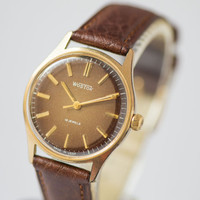 Chocolate brown men's watch East gold plated  wrist watch round face watch USSR accessory mint condition