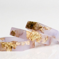 thin hexagonal eco resin ring - translucent lavender with gold leaf flakes - size 7.5
