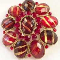 Half Price Sale Red Glass Pin or Brooch, Givre , Vintage Jewelry SUMMER SALE
