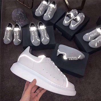 Alexander Mcqueen 19ss 3M Reflective Thick-soled Shoes Small White Shoes-2