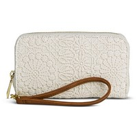 Women's Crochet Cell Phone Wallet Case - Ivory