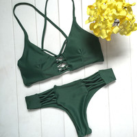 Unique Green Bikini Set Womens Swimsuit Beach Bathing Suits  + Free Gift Necklace