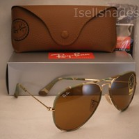 Clearance Ray Ban Aviator Full Color Camo/Gold w B-15 Lens (RB3025JM 169 58)