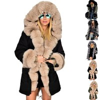 Plus Size 5XL Winter Jacket Coat Hooded Overcoat Faux Fur