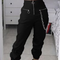 New hot chain straight baggy stretch slacks