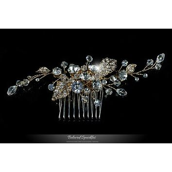 Derica Curved Leaves Gold Hair Comb | Swarovski Crystal