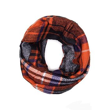 Soft Classic Checkered Plaid Infinity Loop Scarf