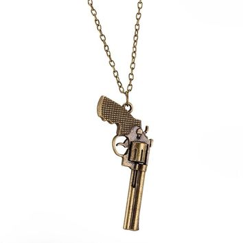 Vintage Punk Style Gun Shape Pendant Necklace Charm Jewelry