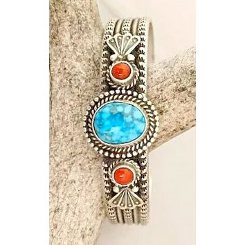 Cowgirl Kim Navajo Stamped Turquoise and Coral Cuff