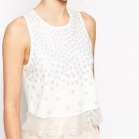 ASOS Top With Daisy Embellishment And Lace Hem