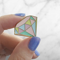 Diamond Enamel Pin, Flair – Lapel, Hard Enamel – Pastel & Gold