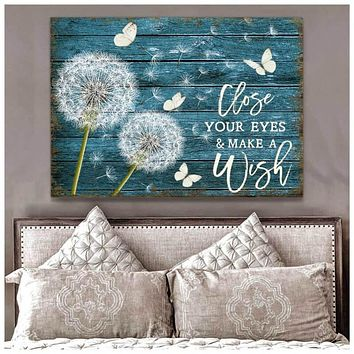 Dandelion and Butterfly Close your eyes and Make a wish Canvas Wall Art, 5 Sizes