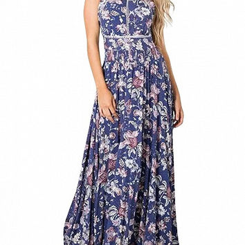 Blue Floral Halter Open Back Split Maxi Dress