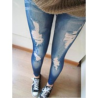 2016 New Black/Blue Leggings Women Fashions Destroyed Leggings Jeans Look Jeggings Stretch Skinny Laddy Jeans