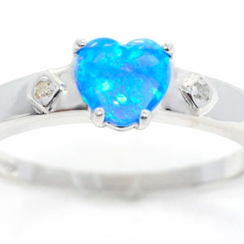 1 Carat Blue Opal Heart Diamond Ring .925 Sterling Silver Rhodium Finish White Gold Quality