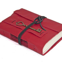 Red Leather Journal with Heart Key Bookmark - Ready to Ship