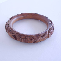 Brown Carved Bangle Bracelet Unknown Material Maybe Wood Floral Jewelry