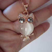 owl necklace-opal rose gold necklace-charming owl necklace-cute owl necklace-lovely necklace-special for you