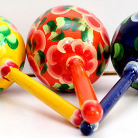 Maracas  set of 2 rattle toy traditional Russian  pattern painted curved made hand decorative collectible wood birthday Baby shower gift