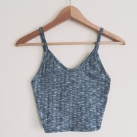 Cindy V-Neck Ribbed Charcoal Tank