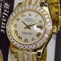 ROLEX - 18kt Gold Ladies Triple Diamond Bracelet Pearlmaster 80298 - SANT BLANCo