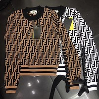 Fendi Women Round Neck Top Sweater Pullover Sweatshirt