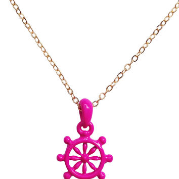 Captain-of-the-Ship Neon Pink Wheel Necklace